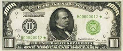 Historic US $1,000 bill
