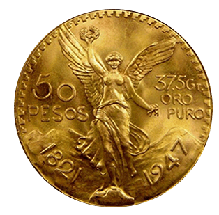 Gold bullion with Angel and 50 pesos etched on it. Rare 1821 to 1947 bullion